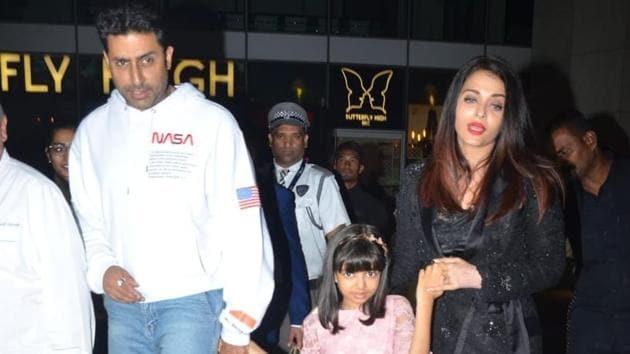 Abhishek Bachchan spotted with Aishwarya and Aaradhya in Mumbai on Tuesday.(Varinder Chawla)