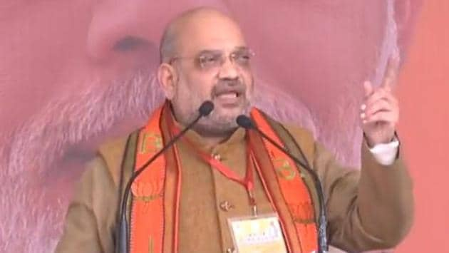 BJP president Amit Shah addresses a rally of party's booth-level workers in Uttar Pradesh's Aligarh on Wednesday.(Photo: Twitter/@BJP4India)