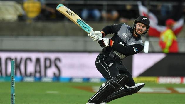 New Zealand's Tim Seifert plays a shot.(AFP)