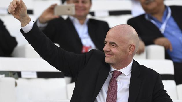 FIFA President Gianni Infantino smiles prior to the AFC Asian Cup final match between Japan and Qatar.(AP)