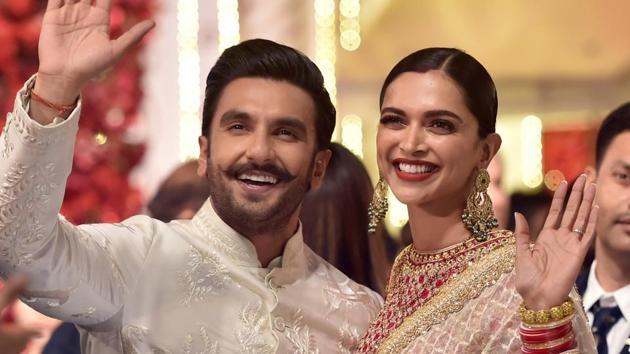 Ranveer Singh and Deepika Padukone at the wedding ceremony of Isha Ambani, Dec. 12, 2018. (PTI Photo/Mitesh Bhuvad)(PTI)