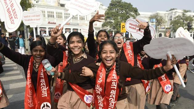 Students during 'Pad Yatra', a march organised by an NGO and the Delhi government, to spread awareness about menstruation, Feb 5, 2019.(Sanchit Khanna/HT Photo)