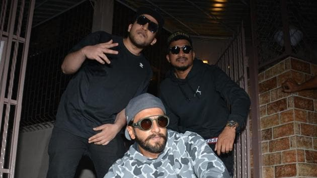 Actor Ranveer Singh seen with rappers Vivian Fernandes and Naved Shaikh, popularly known as Divine and Naezy respectively, at a dubbing studio in Mumbai.(IANS)