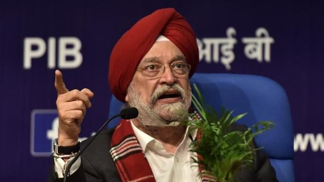 Union housing and urban affairs minister Hardeep Singh Puri on Tuesday accused the Aam Aadmi Party government in Delhi of delaying in regularisation process of unauthorised colonies.(Mohd Zakir/HT Photo)