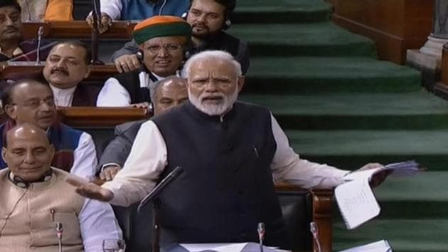 Prime Minister Narendra Modi replies to debate on motion of thanks to the President's address in Lok Sabha on Thursday.(ANI)