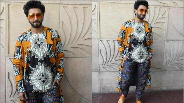 Ranveer Singh spotted in prints on patterns at Gully Boy promotions(Viral Bhayani)