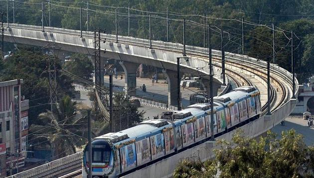 A metro train runs on its tracks after the inauguration of Hyderabad Metro Rail project in Hyderabad on Tuesday. Image for representation.(PTI file photo)