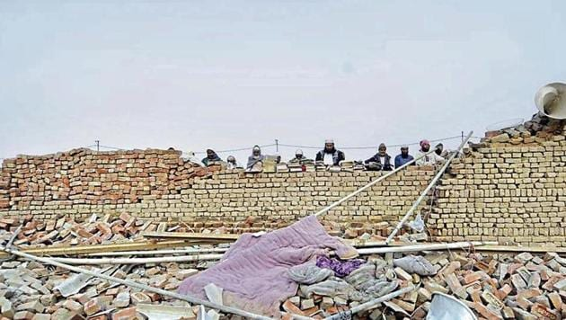 The tempestuous storm, eyewitnesses said, destroyed pucca houses within seconds,(HT Photo)