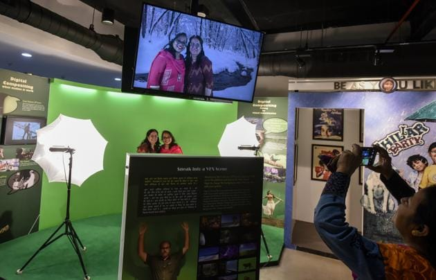 It's not all bad. The interactive VFX section is a definite win. It lets you pick a background, pose against a green screen and have a picture taken of the completed effect. There's also an interactive sound and Foley section, where you can edit on film. And clips from films like Raja Harishchandra (1913), an early and rare work.(Kunal Patil / HT Photo)