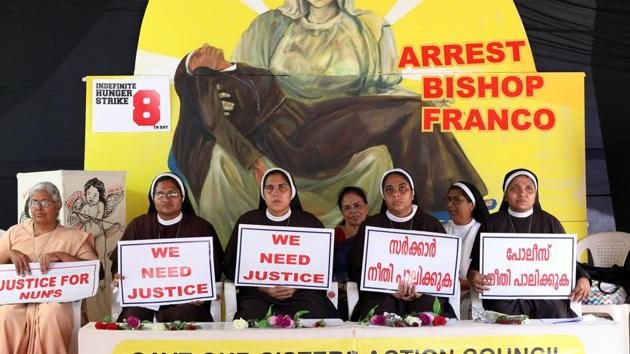 The Jalandhar diocese of the Roman Catholic Church has revoked the transfers of the nuns protesting against rape-accused Bishop Franco Mulakkal . (Photo by Vivek Nair / Hindustan Times)(HT Photo)
