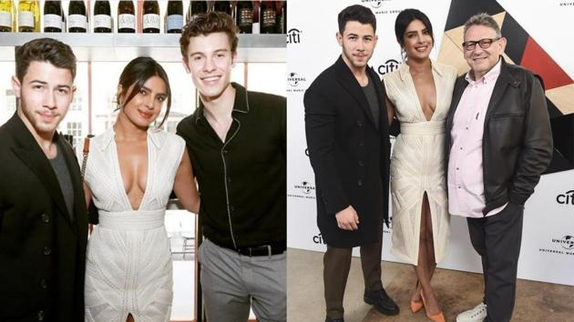 Nick Jonas, Priyanka Chopra with Shawn Mendes and Sir Lucian Grainge at the event.