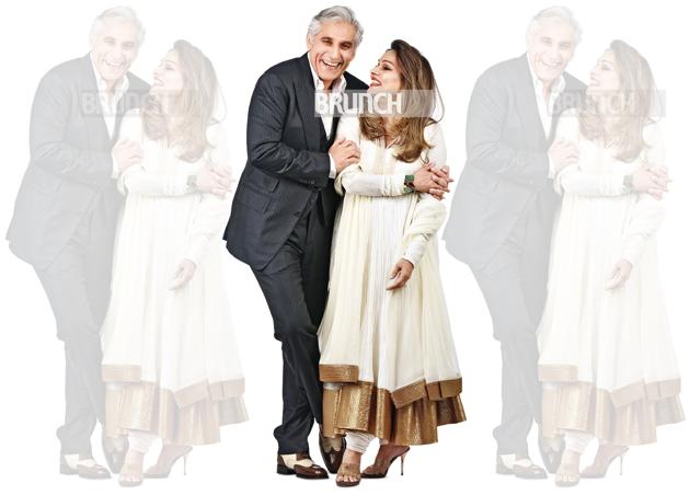 By now, Navin and Raseel have celebrated 27 wedding anniversaries with their family of three children and a household that even includes Navin's former wife. On Navin: Suit, Tom Ford; shirt, Pink; pocket square, Casa Pop; shoes, Tom Ford. On Raseel: Suit; Rohit Bal; jewellery, Alpana Gujral; shoes, Bombay Gossip(Raj K Raj)