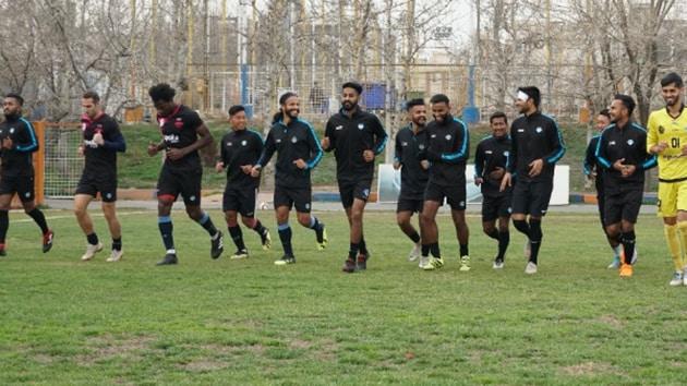 Minerva Punjab FC team members attend a training session.(Twitter)