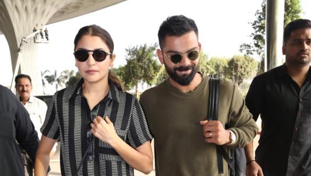 Anushka Sharma and Virat Kohli at the Mumbai airport.