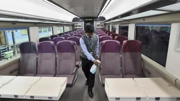 A worker cleans the interior of T-18 train on January 2.(Burhaan Kinu/HT PHOTO)
