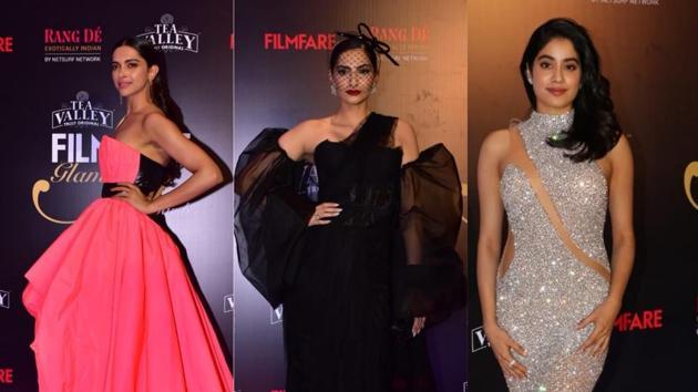 Deepika Padukone, Sonam Kapoor and Janhvi Kapoor at an awards event.(Varinder Chawla)