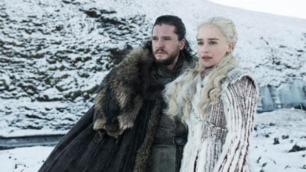 Kit Harington and Emilia Clarke in Game of Thrones season 8.