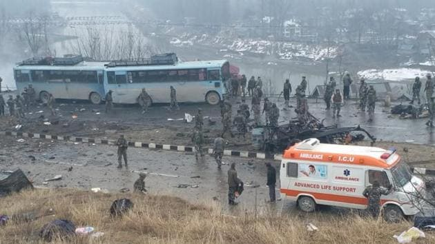 The site of the Wednesday's attack in which 18 CRPF men were killed.(HT Photo)