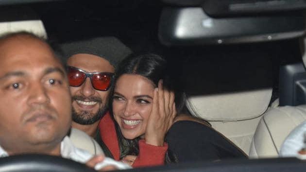 Deepika Padukone and Ranveer Singh arrive at Gully Boy's screening in Mumbai.(Varinder Chawla)