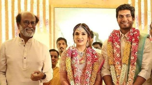 Rajinikanth with daughter Soundarya and son-in-law Vishagan Vanangamudi at their wedding in Chennai.(Instagram)