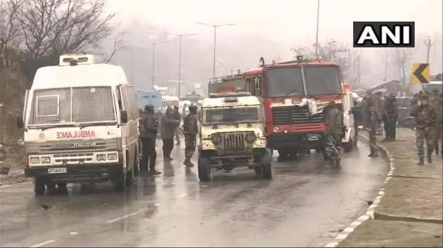 An explosive-laden vehicle rammed into a CRPF bus that caused the blast in what authorities said was a suicide attack.(ANI)
