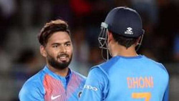 File image of India's Rishabh Pant (L) with MS Dhoni.(AFP)