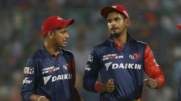 File picture: Delhi Capitals' bowler Sandeep Lamichhane, left, talks with captain Shreyas Iyer(AP)