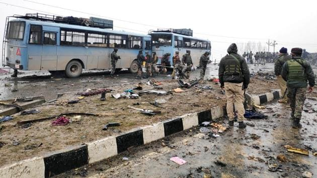 In the attack that took place around 3pm, a Mahindra Scorpio, loaded with nearly 250kg of explosives rammed into a convoy of the security forces, leaving as many as 43 CRPF jawans dead. The Jaish-e-Mohammad has claimed responsibility for the attack.(ANI)