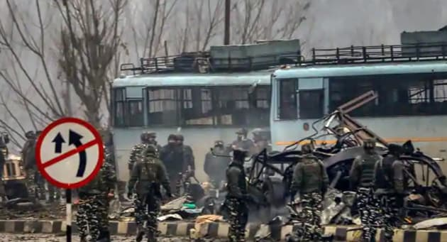 The toll in the terror attack on CRPF personnel in Jammu and Kashmir's Pulwama district has risen to 40 even as a full Court of Inquiry (CoI) has been ordered by the force headquarters in Delhi, a senior official said Friday.(PTI Photo)