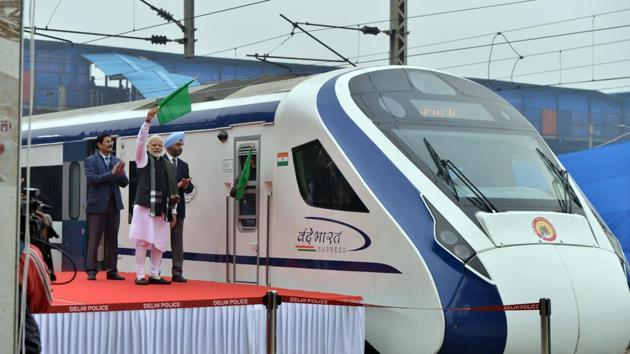 Prime Minister Narendra Modi flagging off Vande Bharat Express (Train-18) at New Delhi Railway Station on Friday(ANI)