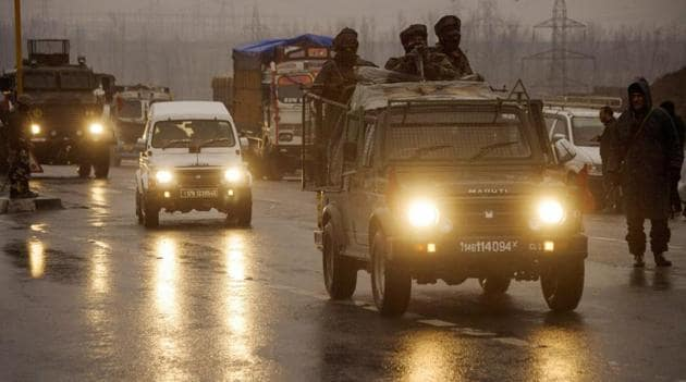 Army soldiers move towards the site of the suicide bomb attack at Lathepora Awantipora in Pulwama district of south Kashmir, Thursday, February 14, 2019.(AP file photo)