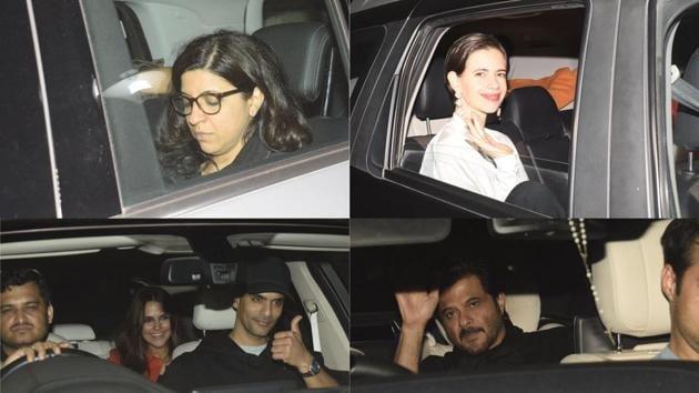 Zoya Akhtar, Kalki Koechlin, Neha Dhupia, Angad Bedi, Anil Kapoor at the Gully Boy screening in Mumbai.(Varinder Chawla)