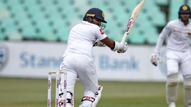 Kusal Perera bats the ball during day 2 of the first test match between South Africa and Sri Lanka.(AFP)