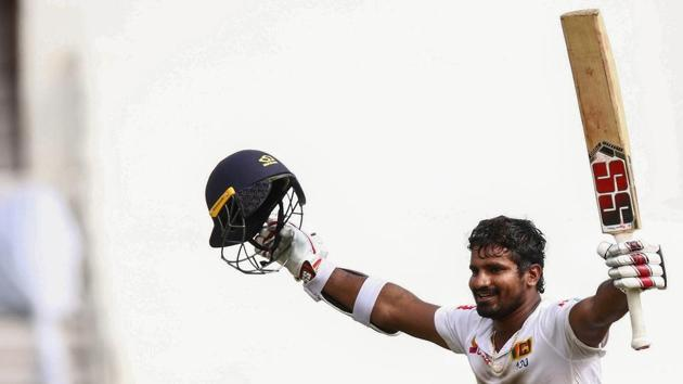 Sri Lanka's Kusal Perera celebrates his team's victory after hittting the winning runs against South Africa.(AFP)