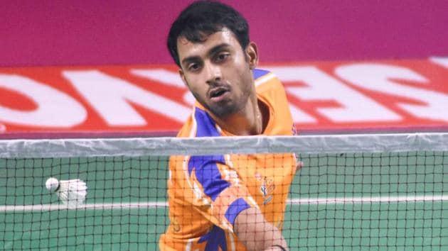 Sourabh Verma returns a shot during his singles match.(PTI)