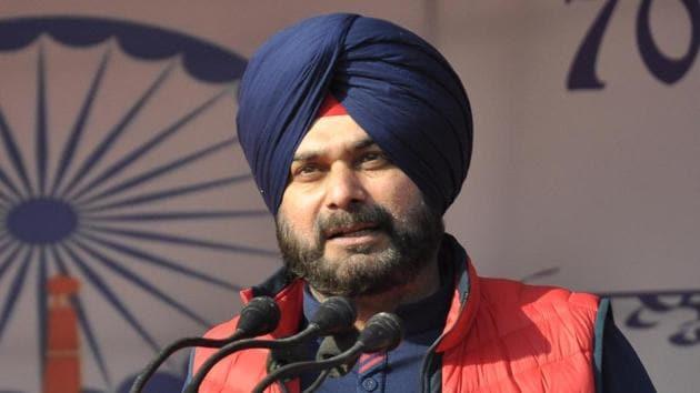 Navjot Singh Sidhu addresses crowds during the 70th Republic Day celebrations at Guru Nanak Stadium in Amritsar.