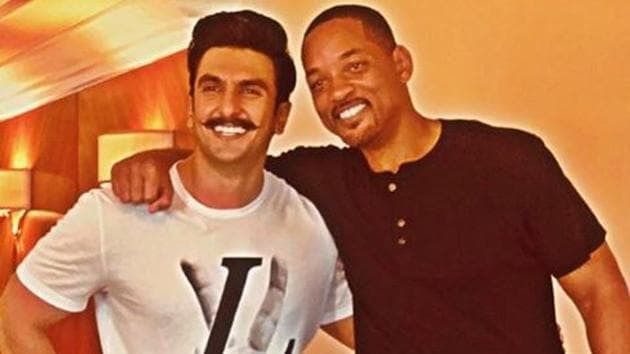 Ranveer Singh poses with Will Smith during the Hollywood actor's last visit to India.