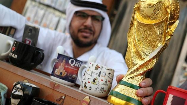 A mock-up of the World Cup is seen at a shop in Souk Waqif in Doha, Qatar. File photo.(REUTERS)