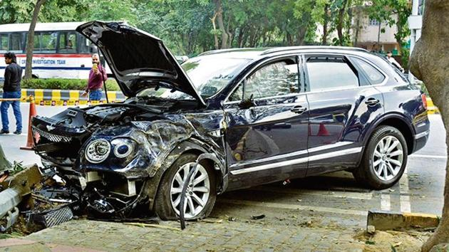 The Bentley was being driven by Ponty Chadha's nephew, Asees Singh Chadha, who was arrested by police.(HT Photo)
