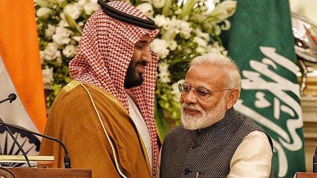 Prime Minister Narendra Modi with Saudi Crown Prince Mohammed bin Salman during the joint press conference in New Delhi.(Raj K Raj/Hindustan Times)