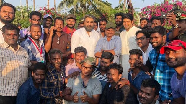 Mohanlal posed with the crew after wrapping up his portion in the film.(Twitter)
