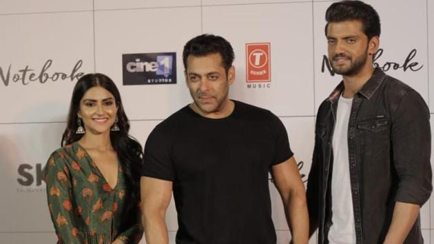 Salman Khan with Pranutan and Zaheer Iqbal at the trailer launch of Notebook.(Varinder Chawla)
