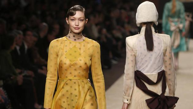 Model Gigi Hadid wears a creation as part of the Fendi women's Fall-Winter 2019-2020 collection, that was presented in Milan, Italy, Thursday, Feb.21, 2019. (AP Photo/Antonio Calanni)(AP)