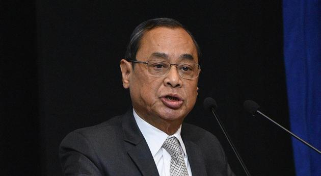 Chief Justice of India Justice Ranjan Gogoi at an event to present the first copy of 'Law, Justice & Judicial Power' Justice PN Bhagwati's approach edited and introduced by Prof. (Dr.) Moolchand Sharma to President Ram Nath Kovind at Ambedkar International Centre in New Delhi, India on Friday, February 08, 2019. (Photo by Sonu Mehta/ Hindustan Times)(Sonu Mehta/HT file photo)