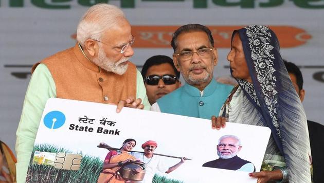 Prime Minister Narendra Modi during the launch of the PMKISAN scheme, at Gorakhpur, in Uttar Pradesh on Sunday, Feb. 24, 2019.(PTI file photo)