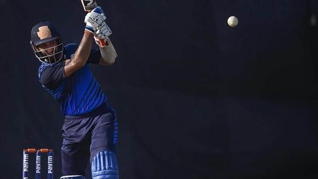 Saurashtra skipper Cheteshwar Pujara bats in Vijay Hazare trophy finals against Karnataka at Feroz Shah Kotla stadium in New Delhi on Tuesday.(PTI)