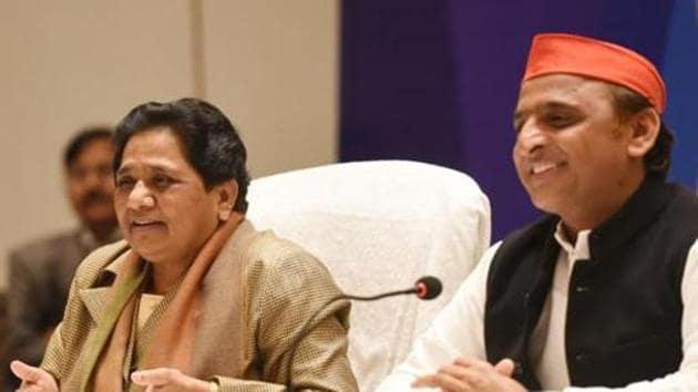 Mayawati and Akhilesh Yadav on Monday announced a poll pact for MP and Uttarakhand.(Subhankar Chakraborty/HT PHOTO)