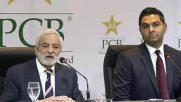 In this Feb. 10, 2019 photo, Pakistan Cricket Board's new managing director Wasim Khan, right, looks on during a press conference with the PCB chairman Ehsan Mani in Lahore, Pakistan(AP)