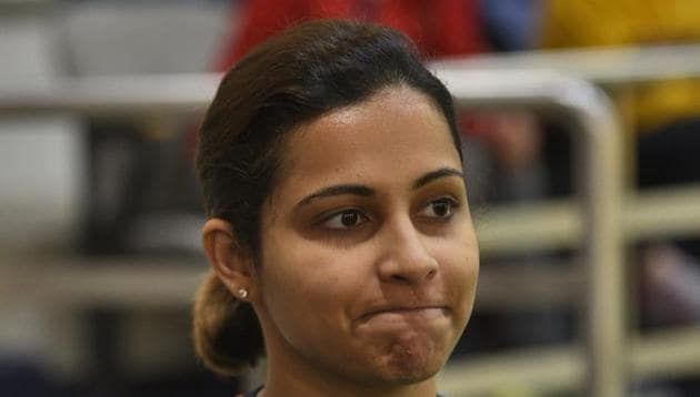 Indian shooter Heena Sidhu failed to qualify for the final of women's 10m air pistol(Burhaan Kinu/HT PHOTO)