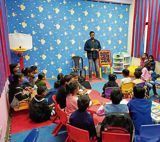 Colourful slippers of all sizes were lined outside room no. 22 of Mandir Marg police station where children from nearby informal settlements had gathered to learn English, Mathematics, and more.(Handout)